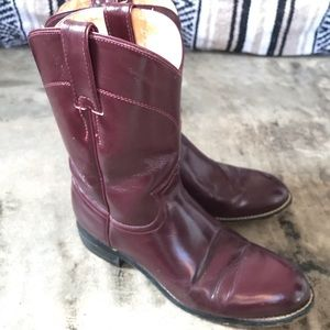 Justin Boots Shoes - Vintage Justin Oxblood Roper Boots 7.5/8